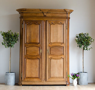 Very Large French Antique 19C Oak Knockdown Double Wardrobe Armoire Cupboard