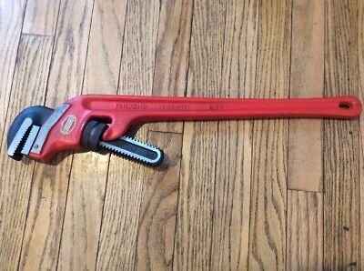 "Ridgid E – 24 pipe wrench (24"" x 45 degree offset) Ridge Tool Co. Elyria, Oh."