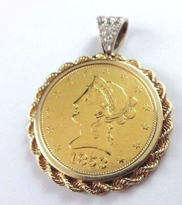 1853 U.S. Mint $10 Liberty Gold Eagle Coin set in 14k Yellow Gold Diamond Bezel