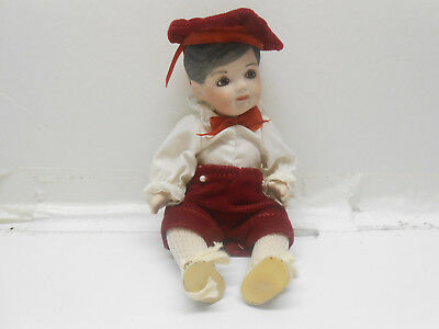 VINTAGE SMALL BISQUE  BOY Doll Porcelain 8 Inches Tall Red Velvet Pants & Hat