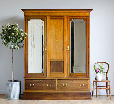 Antique Inlaid Double Wardrobe with Mirror and 2 Drawers