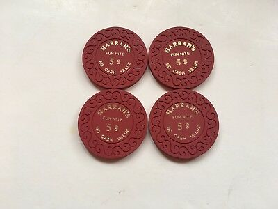 Harrah's Fun Nite $5 No Cash Value  Casino Chips - Set of 4 excellent