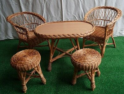 Wicker natural table and chairs stool SET GARDEN conservatory for KIDS