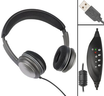 ECS OHUSB WordSlinger Deluxe Overhead USB Transcription Headset