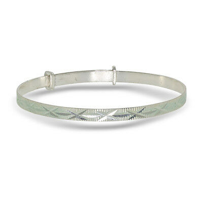 925 Sterling Silver Children's Expandable Christening Bangle 2 Sizes Available