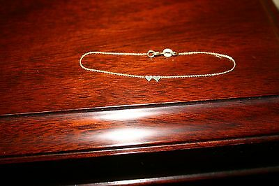 """Vintage DELICATE 14k Yellow GOLD Valentine DOUBLE Heart BRACELET 6.5"""" by CIANI"""