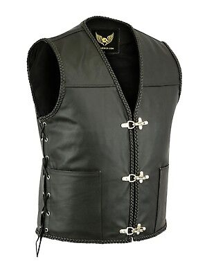 Mens Fish hook buckle side lace biker leather waistcoat motorcycle vest UK Stock