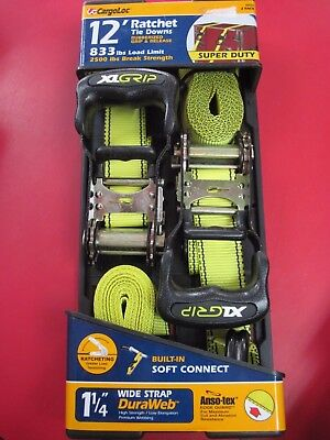 NEW!!  CARGOLOC 12' Super Duty Neon Green Ratchet Tie Down 2ct 1 1/4""