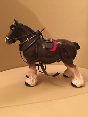 Small Vintage Melba Ware Shire Horse With Full Harness  - Unboxed