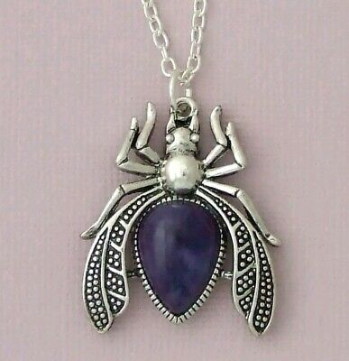 Silver Plated Necklace Large Beetle Scarab Bug Purple Imitation Amethyst Pendant