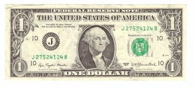 1977 US BEP Printing Error Smudged Green Ink Green Seal $1 Currency Note! #4124