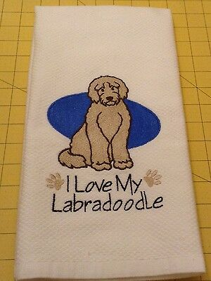 I Love My Labradoodle Embroidered Williams Sonoma Kitchen Towel, XL