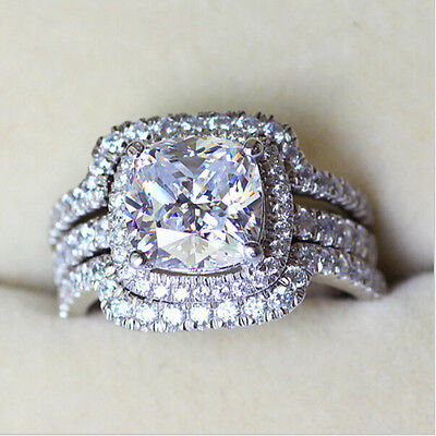 4CT AUTH diamond ring engagement proposal wedding halo band SONA NSCD VVS1 BAND
