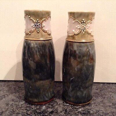 Pretty Pair Of Art Nouveau Royal Doulton Burslem Stoneware Vases 8079 Al Xnb