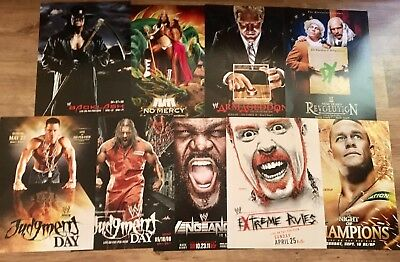 18 WWE PPV EVENT DOUBLE SIDED POSTER COLLECTION RARE (WrestleMania SummerSlam)