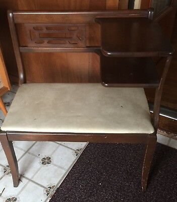 1950's Vintage Telephone Table with Gossip Seat..rich solid wood