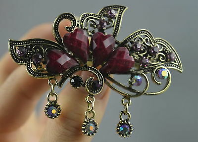 Collectable Handwork Old Copper Carve Butterfly Inlay Agate Auspicious Hair Clip