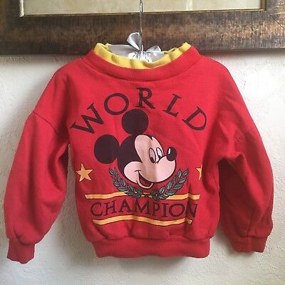 Vintage Mickey And Crew Sweater Size 6 World Class Mouse Disney Red