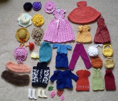 Lot of Vintage Barbie Doll Shoes Boots Handmade Clothes 41 Pieces Some Originals