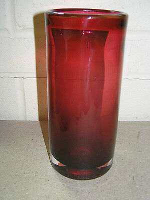Wedgwood Glass Cranberry Cylinder Sleeve Vase