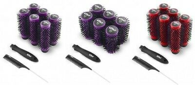 Kodo Lock & Roll Blow Dry Click Brush Set Red Purple 35Mm 45Mm Brushes & Handle