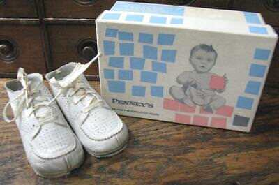 Vtg Pair White Leather Baby Toddler Shoes Original Box Penney's  Sz3  B