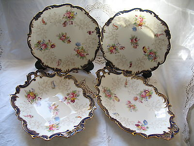 Antique Coalport Cobalt Blue Gold Flowers Dessert Plates
