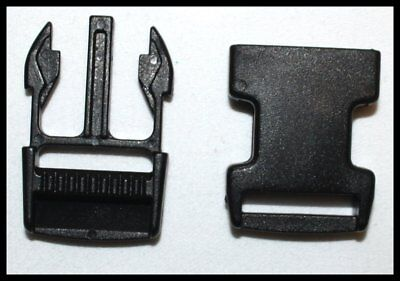 Black Plastic Side Release Buckles For Webbing Bags Straps 25Mm - Free Delivery