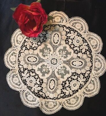"c1880s SWISS GUIPURE (CHEMICAL) LACE & Silk Net DOILY~Ivory~Genuine~10""~Lovely!"