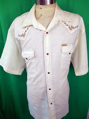 Vintage 70s Embroidered Poly/Cotton New Breed Western Cowboy Shirt Snaps XXL