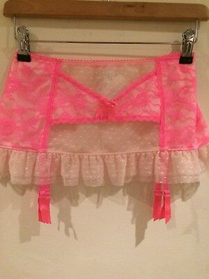 Ann Summers Florrie Suspender Skirt Neon Pink Size 12 New With Tags
