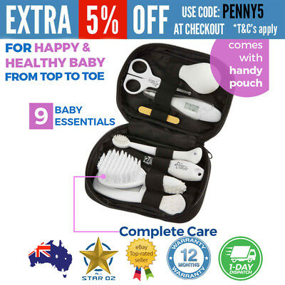 Baby Newborn Grooming Set Thermometer Brush Scissors Nail Clippers