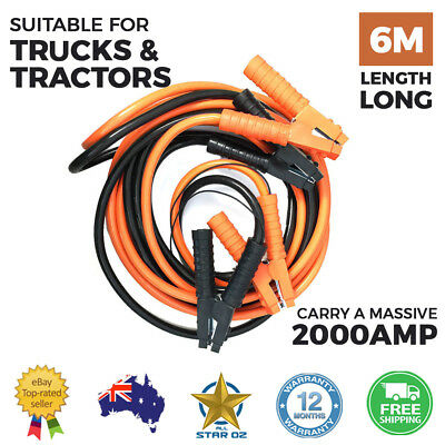 Heavy Duty Jumper Leads 2000AMP Booster Cable Car Battery Truck Tractor 6m Lengt