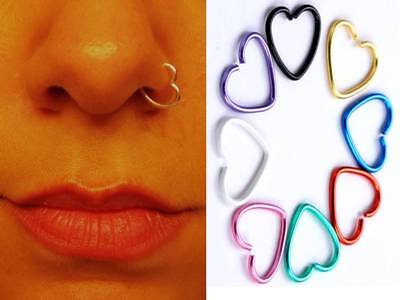 8 Colours Fake Clip On Piercing Heart Shape Stainless Steel Nose Ear Rings