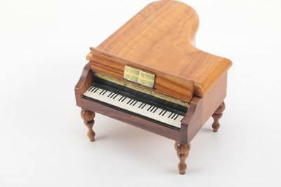 Vintage Fred Zimbalist Thorens Swiss Burl Wood Grand Piano Music Box with Tag