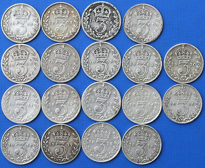 1902-1919 Threepence Collection 18 Coins