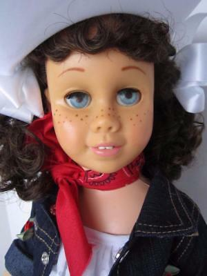 CHATTY CATHY Brunette Pigtail EYELET & DENIM COWGIRL DRESS TALKS FREE SHIPPING