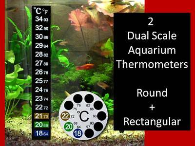 Lcd Stick On Adhesive Strip & Round Thermometer For Fish Tank Aquarium Brew