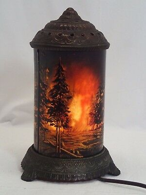 Vintage Forest Fire Motion Lamp Scene In Action Corp Chicago