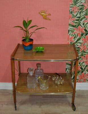 Vintage Noble 60er Trolley Bar Cart Serving LAMINATED PLASTIC TEAK LOOK Rollable