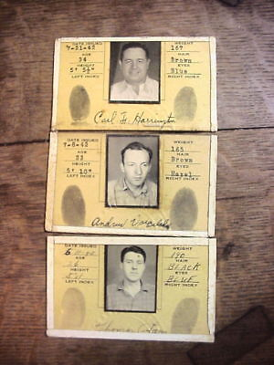SCRANTON ELECTRIC CO 3 Men Employee PHOTO ID BADGES 1942 WWII Advert Utilities