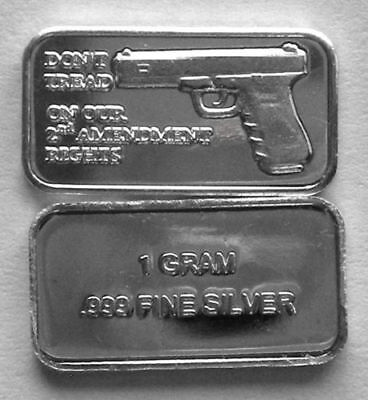 "Best Junk Drawer 1 Gram 999 Solid Silver Art-Bar. PISTOL  "" DONT TREAD ON 2ND """