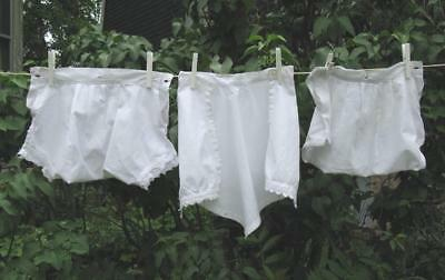 Lot of 3 True Vtg Baby Toddler Diaper Covers Bloomers White Cotton Lace Trim TLC