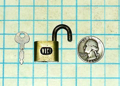 Vtg Antique Old Small Miniature VICI Warded Brass Case Padlock Lock and with Key