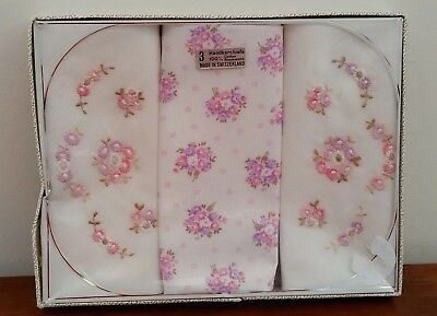Vintage Switzerland Cotton PINK FLORAL Gift Boxed Ladies Handkerchiefs Hankies