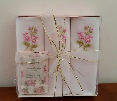 Vintage 3 x Greenleaf Roses PINK FLORAL Gift Boxed Ladies Handkerchiefs Hankies