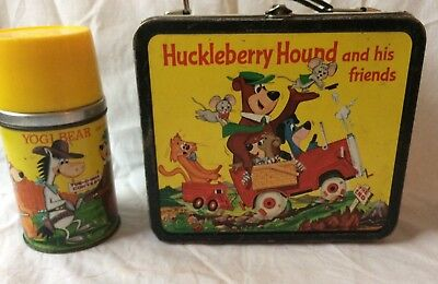 Vintage Rare Quick Draw McGraw and Friends (Yogi) 1961 Metal Lunchbox w/Thermos