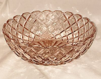"""Anchor Hocking WATERFORD/WAFFLE PINK * 5 1/2"""" CEREAL BOWL*"""