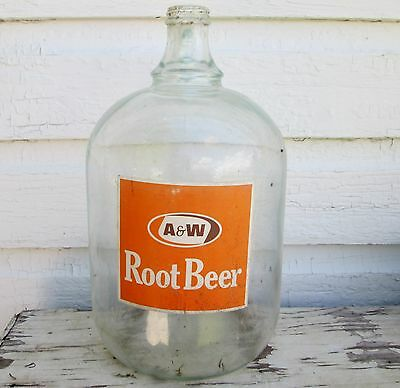 Vintage Canadian A & W Root Beer One Gallon Paper Label Glass Jug