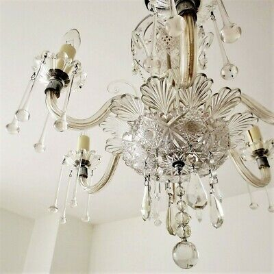 Antique Bohemian 1920's Six Arm Crystal Chandelier